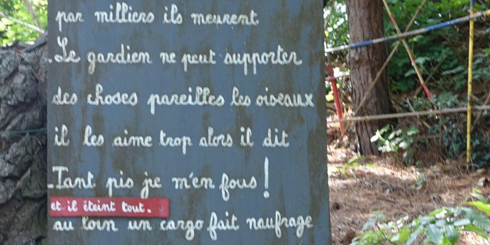 Dans le jardin de Gérard Fusberti, une petite faute, cela donne un vers de rouge...